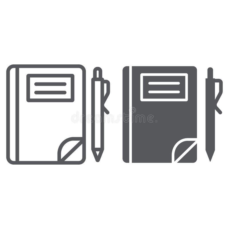 Szkolna notatnik linia, glif ikona, papier i edukacja, notatka znak, wektorowe grafika, liniowy wzór na bielu ilustracji