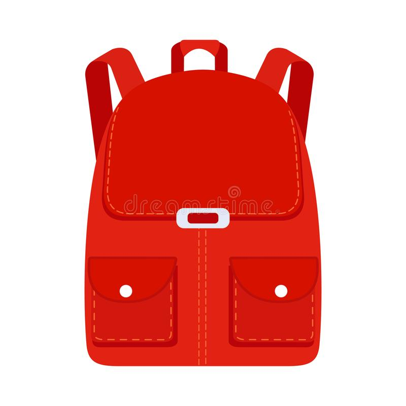 Szkolna plecak ikona w mieszkanie stylu plecaka target2902_0_ Dziecko plecak dla uczyć się i nauki Wektor Akcyjne ilustracje royalty ilustracja