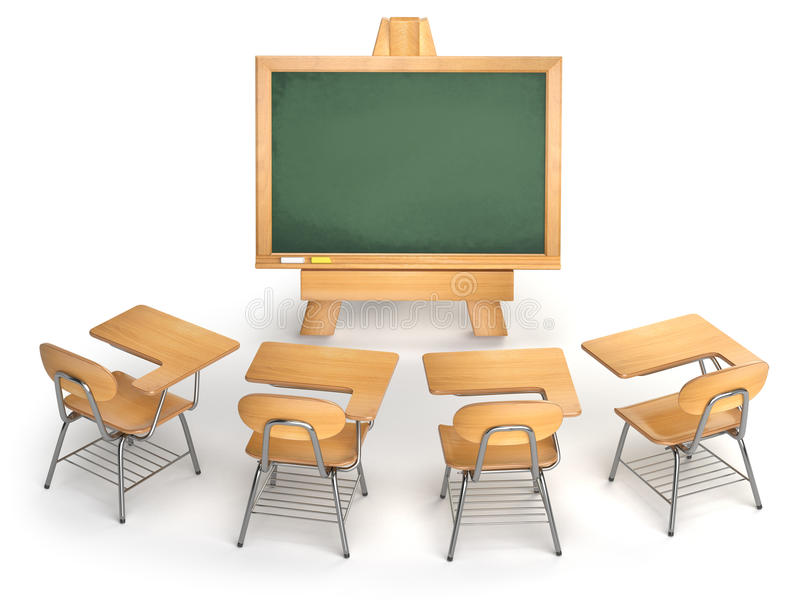 Szkolna sala lekcyjna Pusty chalkboard i szkolni biurka odizolowywający dalej ilustracja wektor