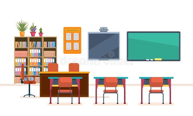 Szkolna sala lekcyjna z chalkboard i biurkami Wnętrze szkolna klasa royalty ilustracja