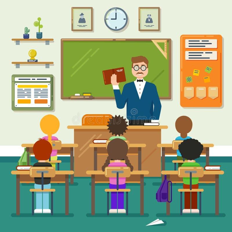Szkolna sala lekcyjna z uczniem, uczniami i nauczycielami, Wektorowa płaska ilustracja ilustracji