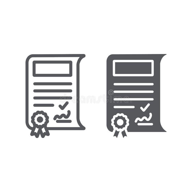 Szkolna sertificate linia, glif ikona, osiągnięcie i nagroda, dyplomu znak, wektorowe grafika, liniowy wzór na a ilustracja wektor