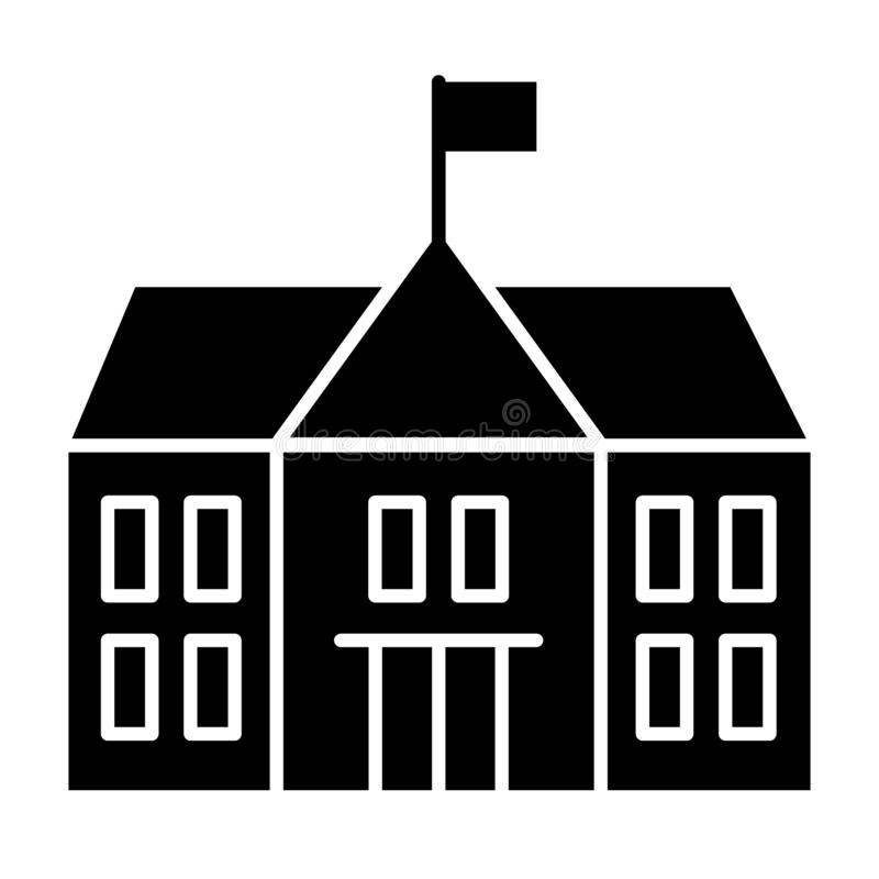 Szkolna stała ikona Budynek wektorowa ilustracja odizolowywająca na bielu Szkoła wyższa glifu stylu projekt, projektujący dla sie ilustracji