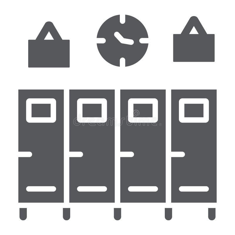 Szkolna szafka glifu ikona, gym i odmienianie, szafa znak, wektorowe grafika, bryła wzór na białym tle ilustracja wektor