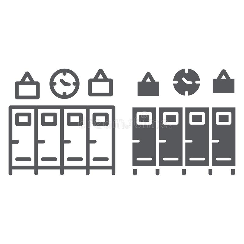 Szkolna szafki linia, glif ikona, gym i odmienianie, szafa znak, wektorowe grafika, liniowy wzór na bielu royalty ilustracja