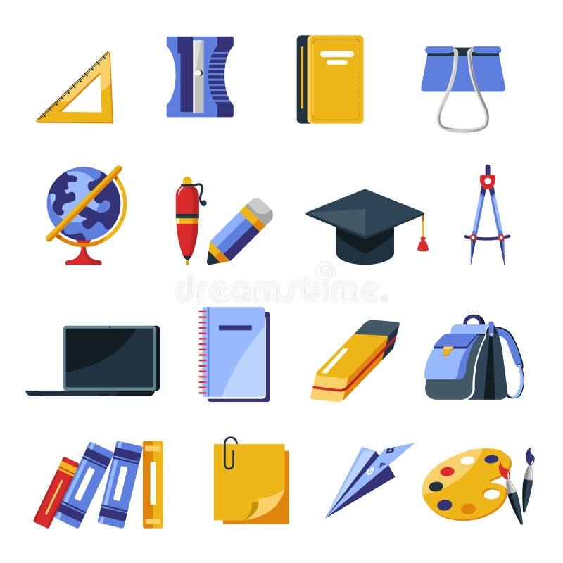 Szkolne dostawy, materiałów narzędzia, plecak i laptop, odosobnione ikony ilustracji