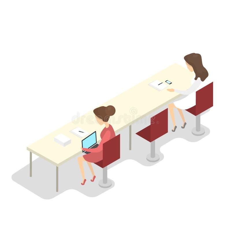Szkolne dziewczyny robi pracie domowej z laptopem isometric ilustracja wektor