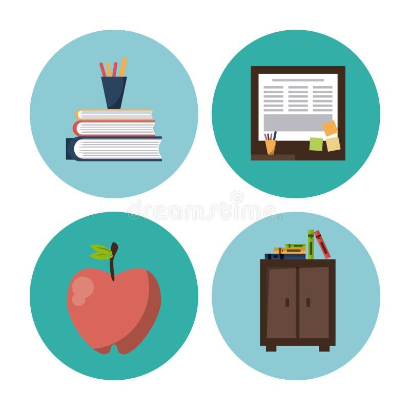 Szkolne element ikony ilustracji