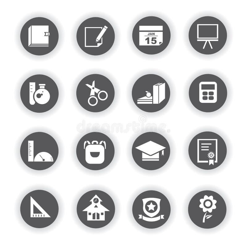 Szkolne ikony, round guziki ilustracji