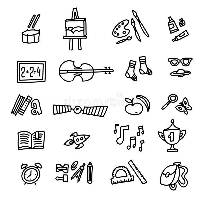 Szkolne ikony tylna szko?y Ręka Rysujący Doodle ikony set Szkicowa wektorowa kontur kreskówka ustawiająca szkoła symbole i przedm ilustracja wektor