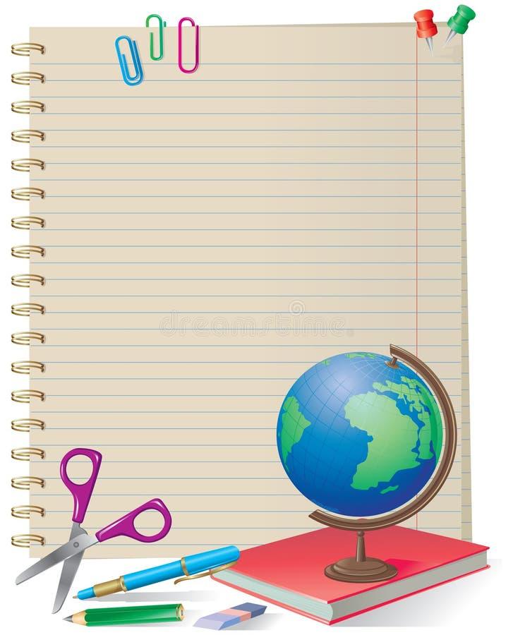 szkolne notepad dostawy royalty ilustracja