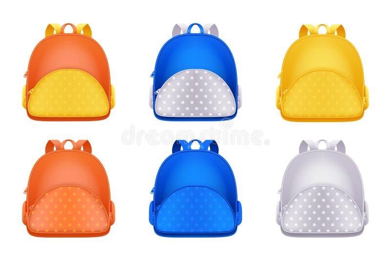 Szkolne plecak ikony, odizolowywać na białym tle Wektoru 3d realistyczna ilustracja multicolor dzieciaka plecak ilustracji