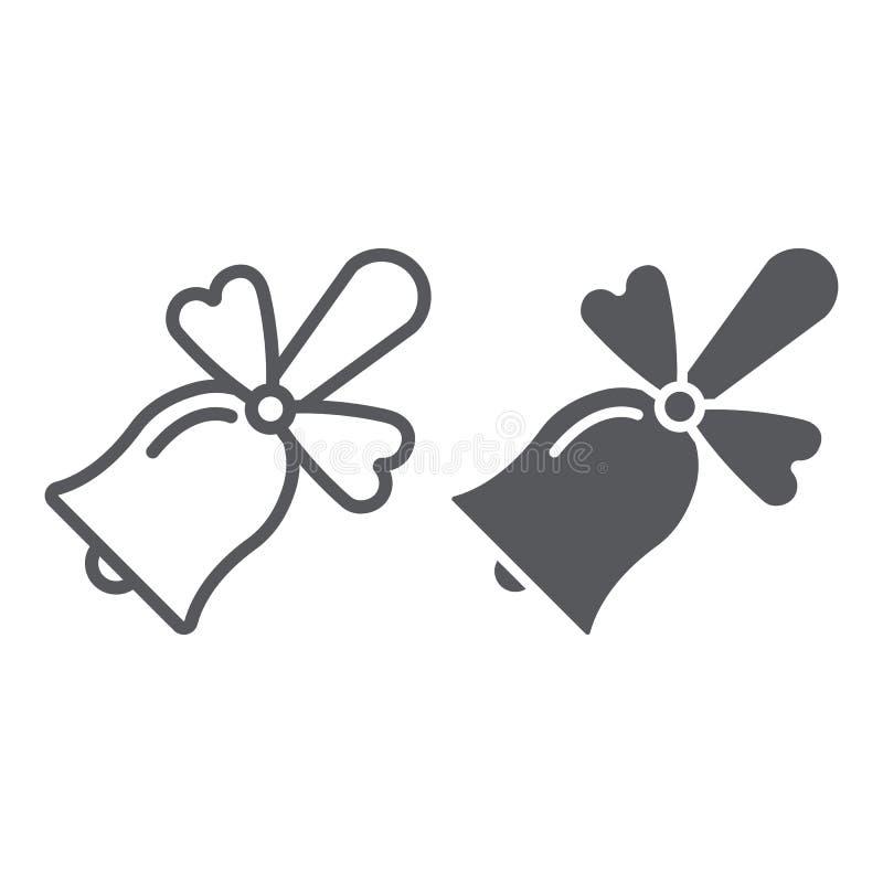 Szkolnego dzwonu linia, glif ikona, alarm i pierścionek, handbell znak, wektorowe grafika, liniowy wzór na białym tle royalty ilustracja