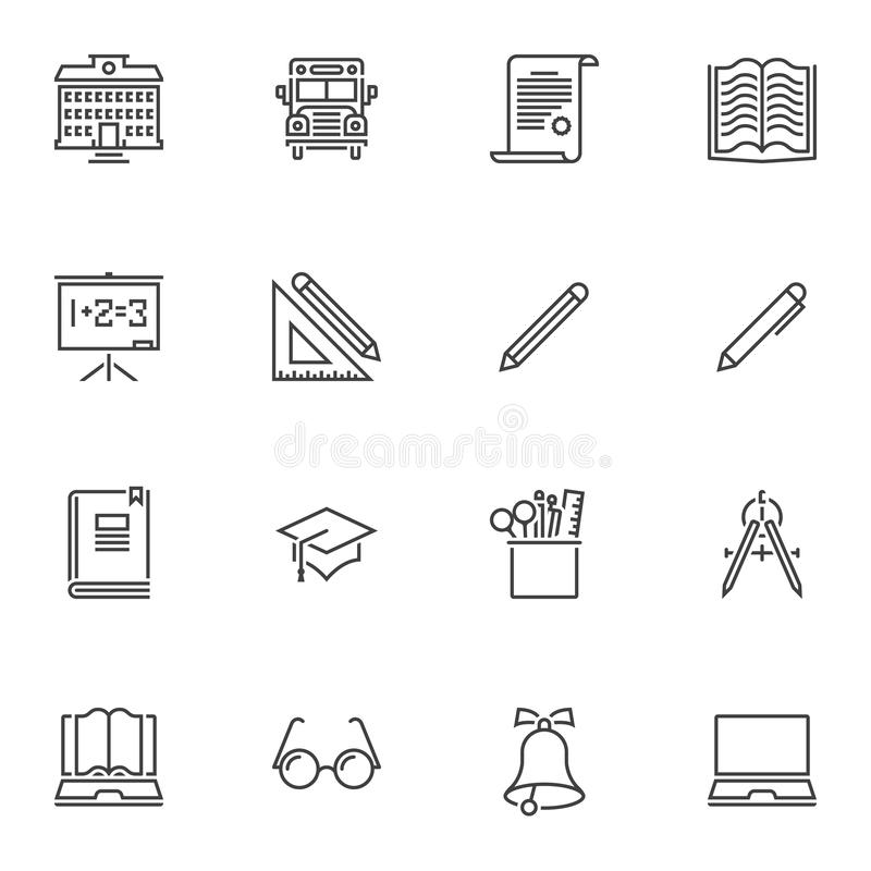 Szkolnego wyposażenia linii ikony ustawiać royalty ilustracja