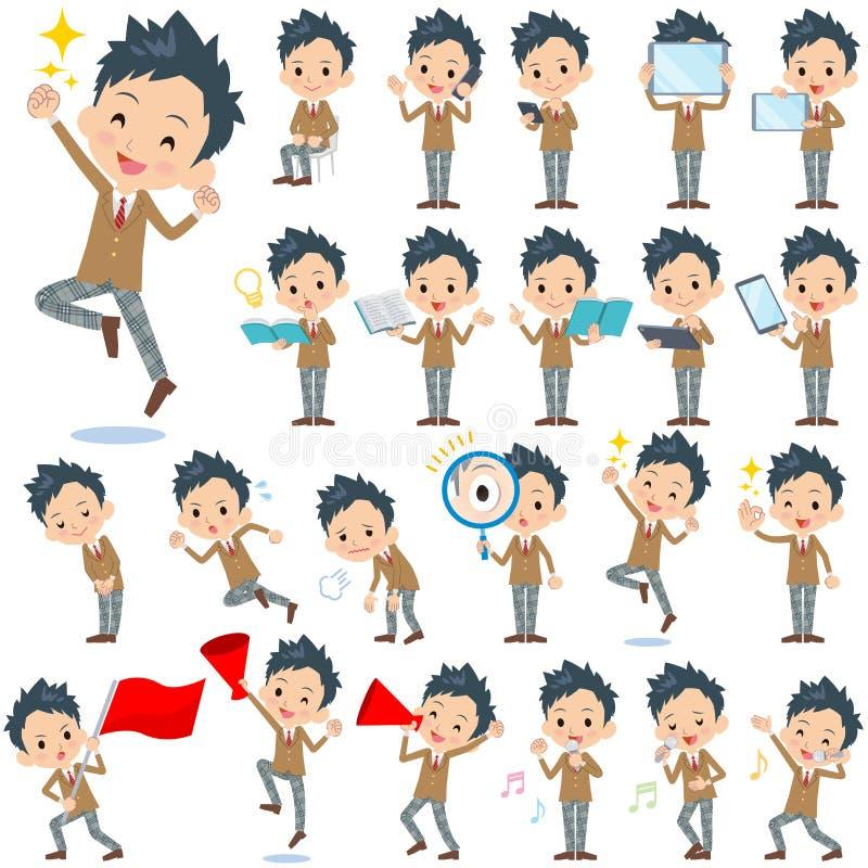 Szkolnej chłopiec Brown blezer 2 ilustracja wektor