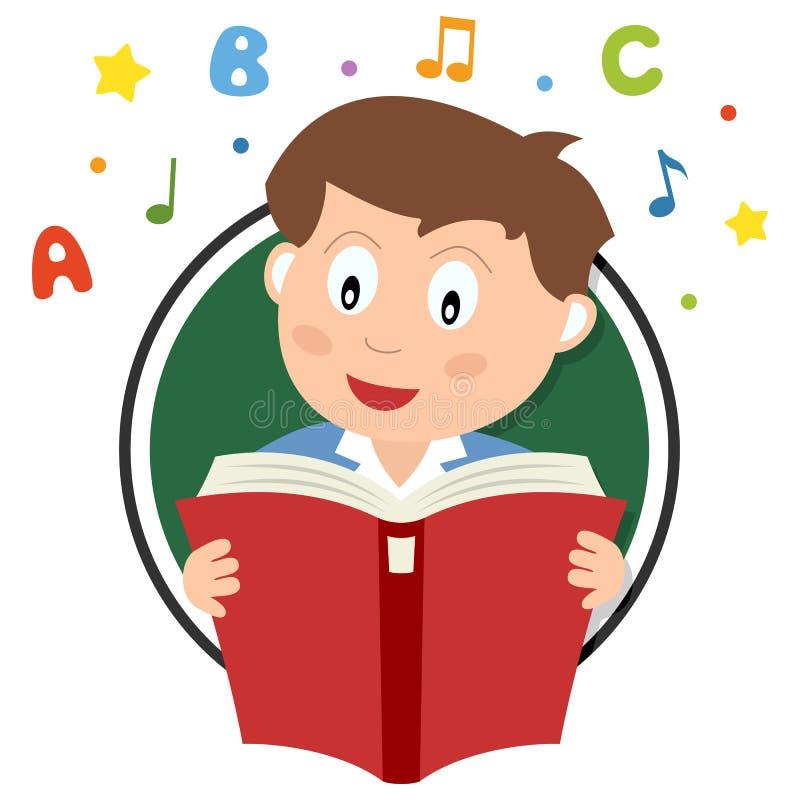 Szkolnej chłopiec Czytelniczy logo ilustracji