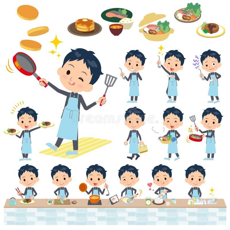 Szkolnej chłopiec gakuran kucharstwo ilustracji