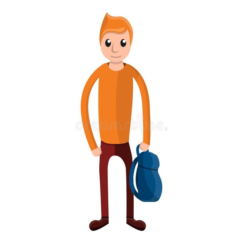 Szkolnej chłopiec plecaka ikona, kreskówka styl ilustracji