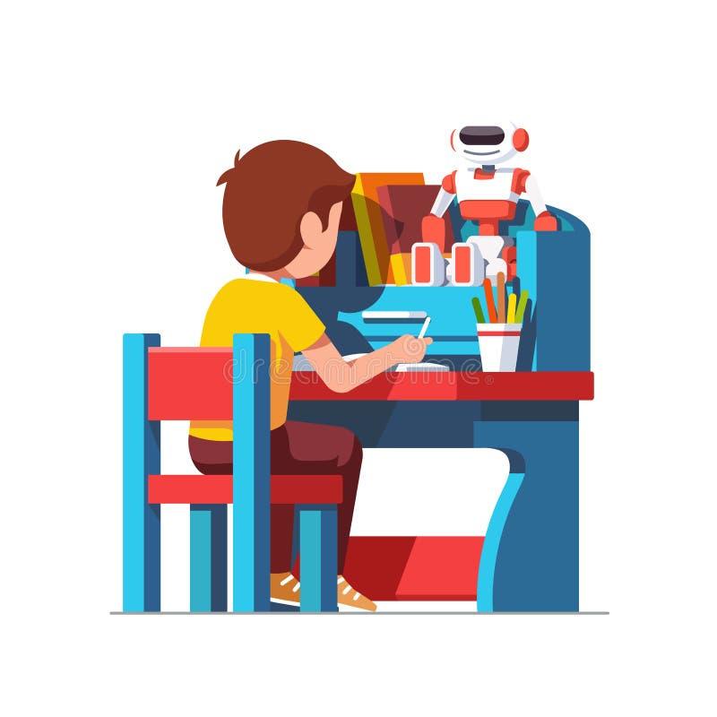 Szkolnej chłopiec studiowania obsiadanie przy błękitnym dziecka biurkiem ilustracji