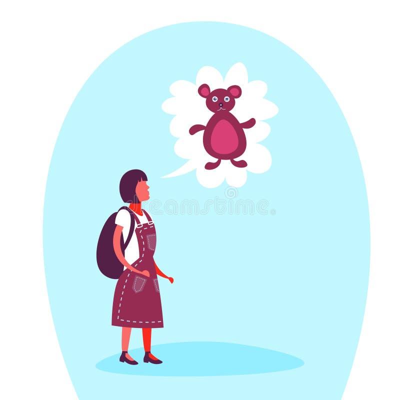 Szkolnej dziewczyny mowy bąbla misia nastolatka dziewczyny sen zabawki myślący pojęcie odizolowywał pełnej długości postaci z kre ilustracja wektor