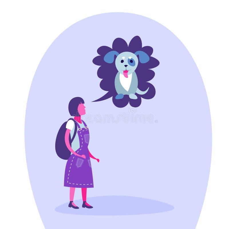 Szkolnej dziewczyny mowy bąbla psa nastolatka myślący sen migdali pojęcie odizolowywającej pełnej długości postaci z kreskówki pł ilustracja wektor