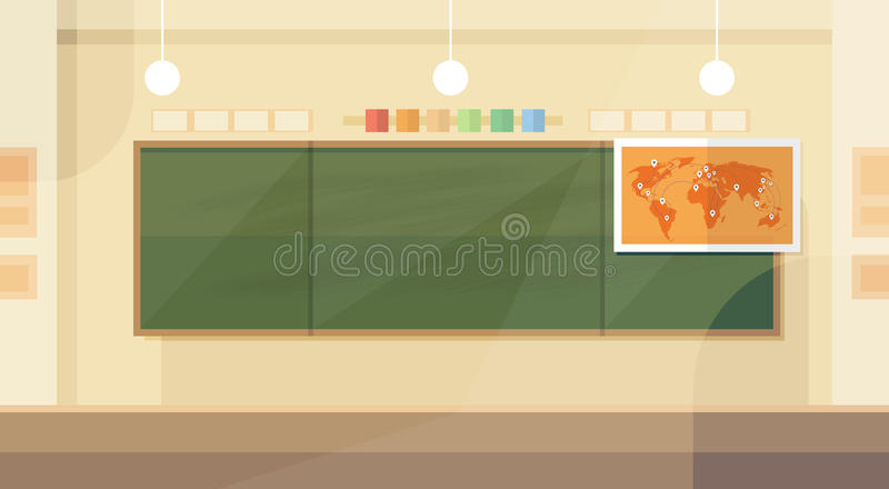 Szkolnej sala lekcyjnej wnętrza deski mapy Płaski projekt royalty ilustracja