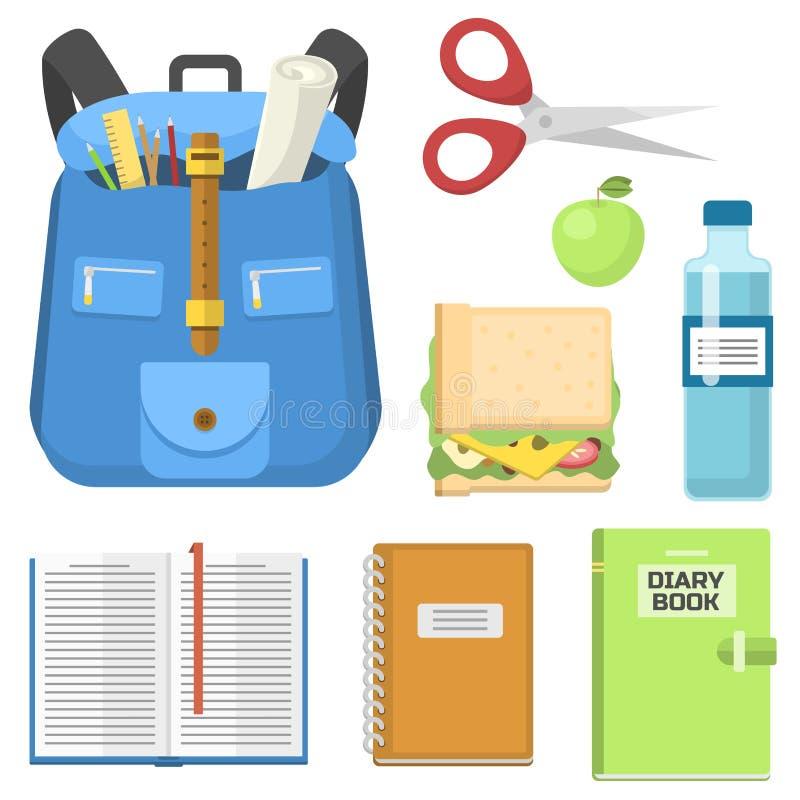 Szkolnej torby plecak pełno dostaw dzieci stacjonarnego suwaczka edukacyjna workowa wektorowa ilustracja ilustracja wektor