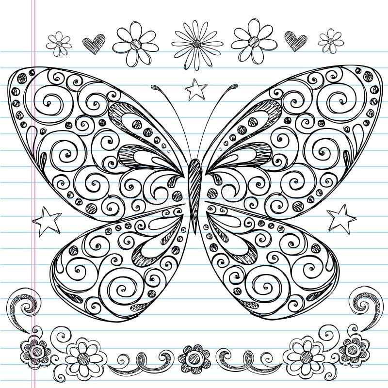 Szkolni Doodles motyli Szkicowy Plecy ilustracji