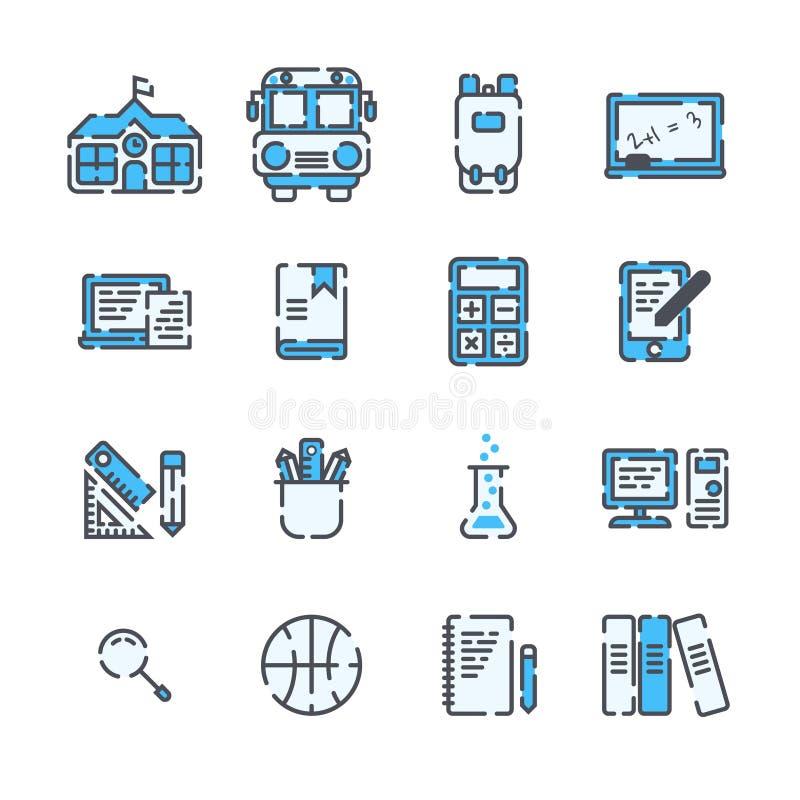 Szkolni elementy wypełniający kontur ikony set ilustracji