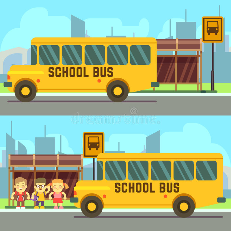 Szkolni ucznie czeka schoolbus ilustracji