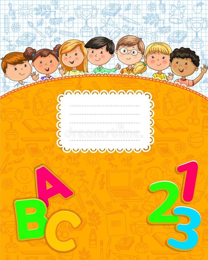 Szkolny żółty notatnik z ślicznymi śmiesznymi dzieciakami ilustracji