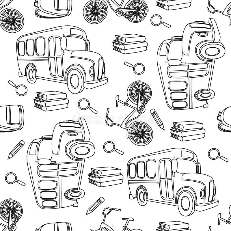 Szkolny Bezszwowy Deseniowy Wektorowy Ilustracyjny autobusu szkolnego & roweru biel ilustracja wektor