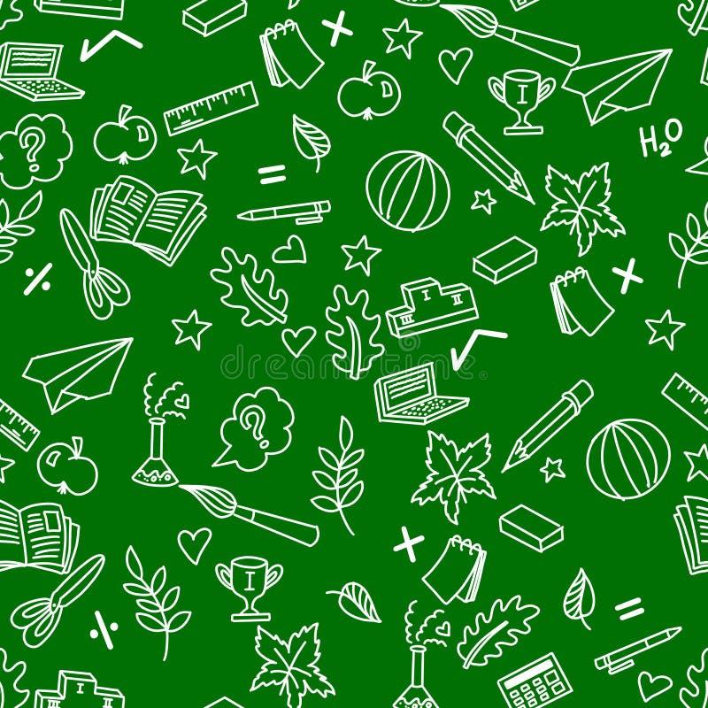 Szkolny bezszwowy wzór na zielonych tła i bielu doodles ilustracji