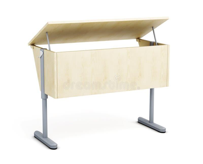 Szkolny biurko odizolowywający na białym tle 3d odpłacają się image ilustracji