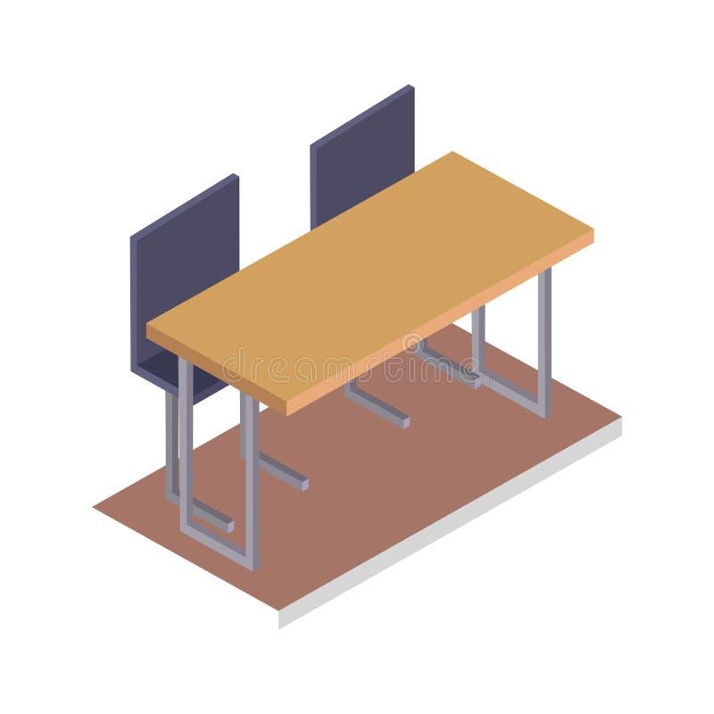 Szkolny biurko z krzesło Trójwymiarowym wektorem royalty ilustracja