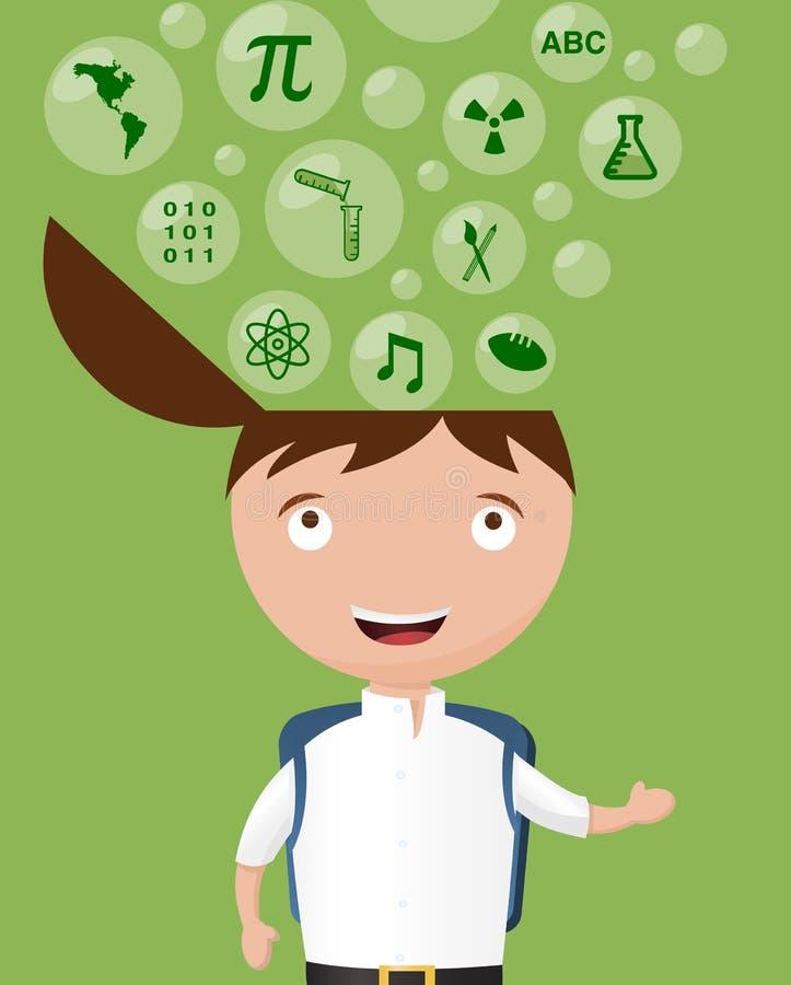 Szkolny dzieciak Wychodzący O Wiele tematach ilustracja wektor
