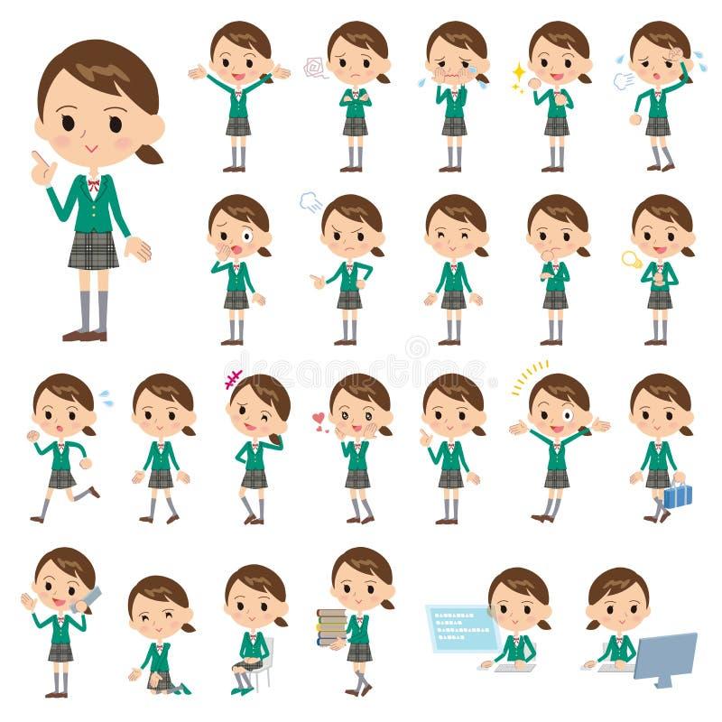Szkolny dziewczyny zieleni blezer ilustracja wektor