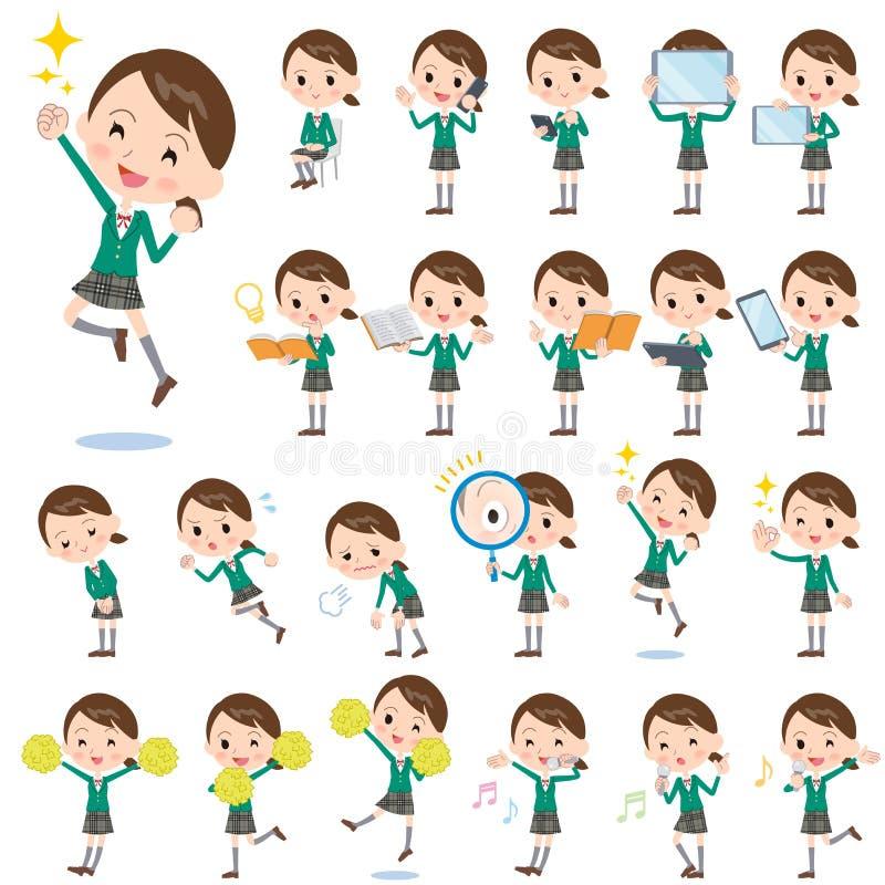 Szkolny dziewczyny zieleni blezer 2 royalty ilustracja