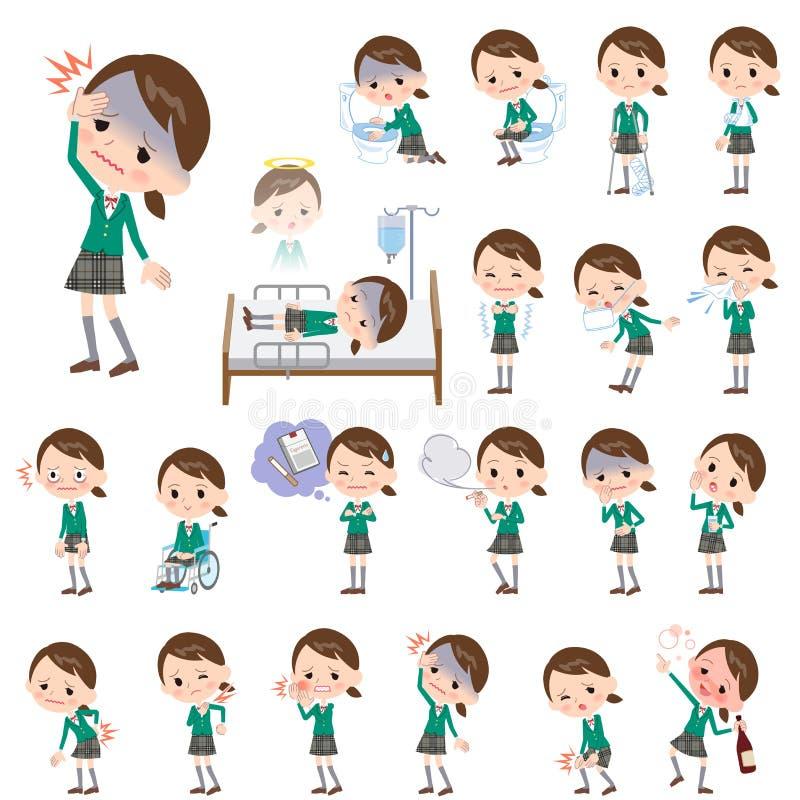 Szkolny dziewczyny zieleni blezer O chorobie royalty ilustracja