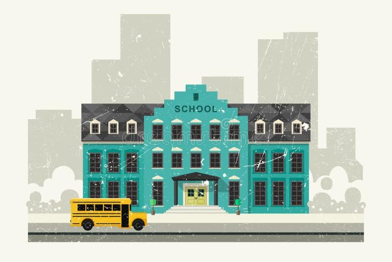 Szkolny i żółty autobus ilustracji
