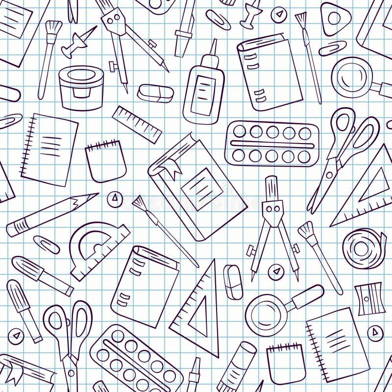 Szkolny i biurowy materiały Bezszwowy wzór w doodle i kreskówki stylu Książeczka czekowa w klatce ilustracja wektor
