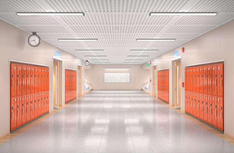 Szkolny korytarza wnętrze ilustracja wektor
