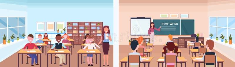 Szkolny lekcyjny żeński nauczyciel z uczeń ustawiającym przodu z powrotem widokiem sali lekcyjnej edukacji nowożytny szkolny wewn ilustracji