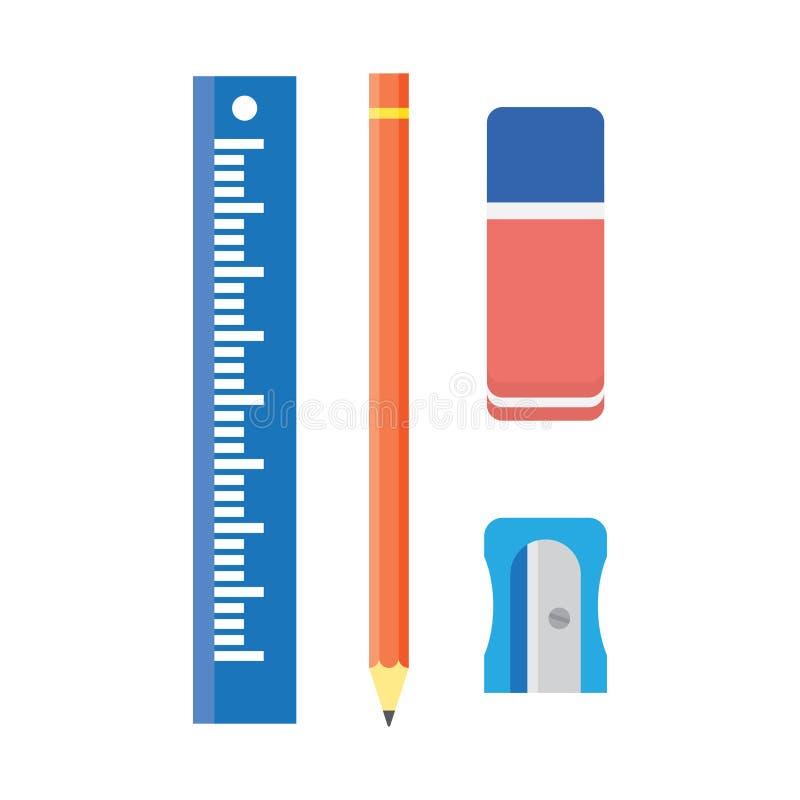 Szkolny materiały, drewniany ołówek, ostrzarka, władca i gumka, royalty ilustracja