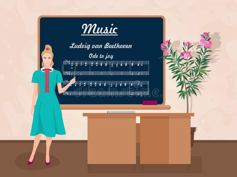 Szkolny Muzyczny żeński nauczyciel w widowni klasy pojęciu również zwrócić corel ilustracji wektora royalty ilustracja