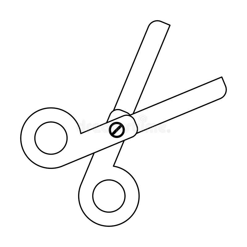Szkolny nożyce naczynie odizolowywający w czarny i biały ilustracji
