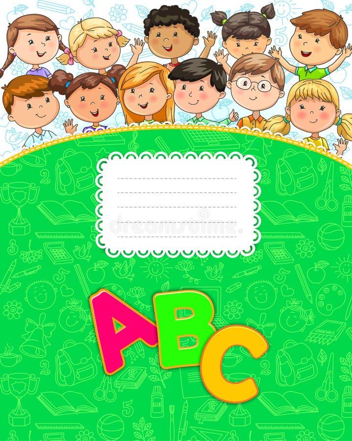 Szkolny notatnik z ślicznymi śmiesznymi dzieciakami ilustracja wektor