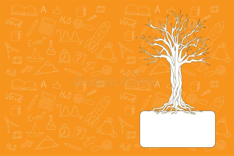 Szkolny notatnik z drzewem ilustracja wektor