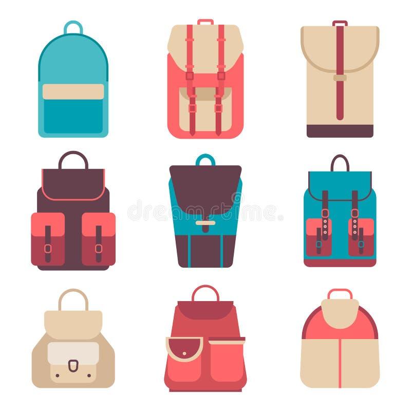 Szkolny plecak w płaskim stylu Żartuje plecaka na barwionym tle Ustawia młodość plecaki Dziecko plecaka wektor royalty ilustracja