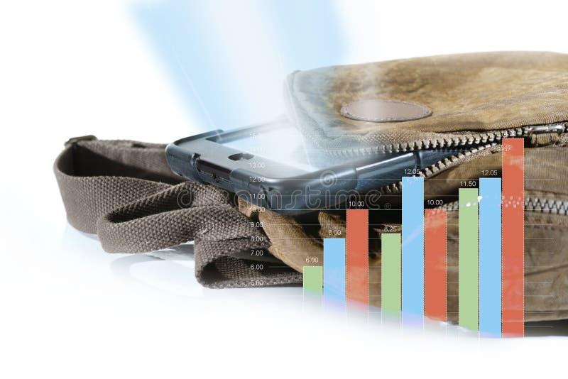 Szkolny plecak z cyfrowymi pastylkami w stać na czele kieszeń, Odosobnioną na prętowej mapy wzroscie liczba studenccy użytkownicy fotografia stock
